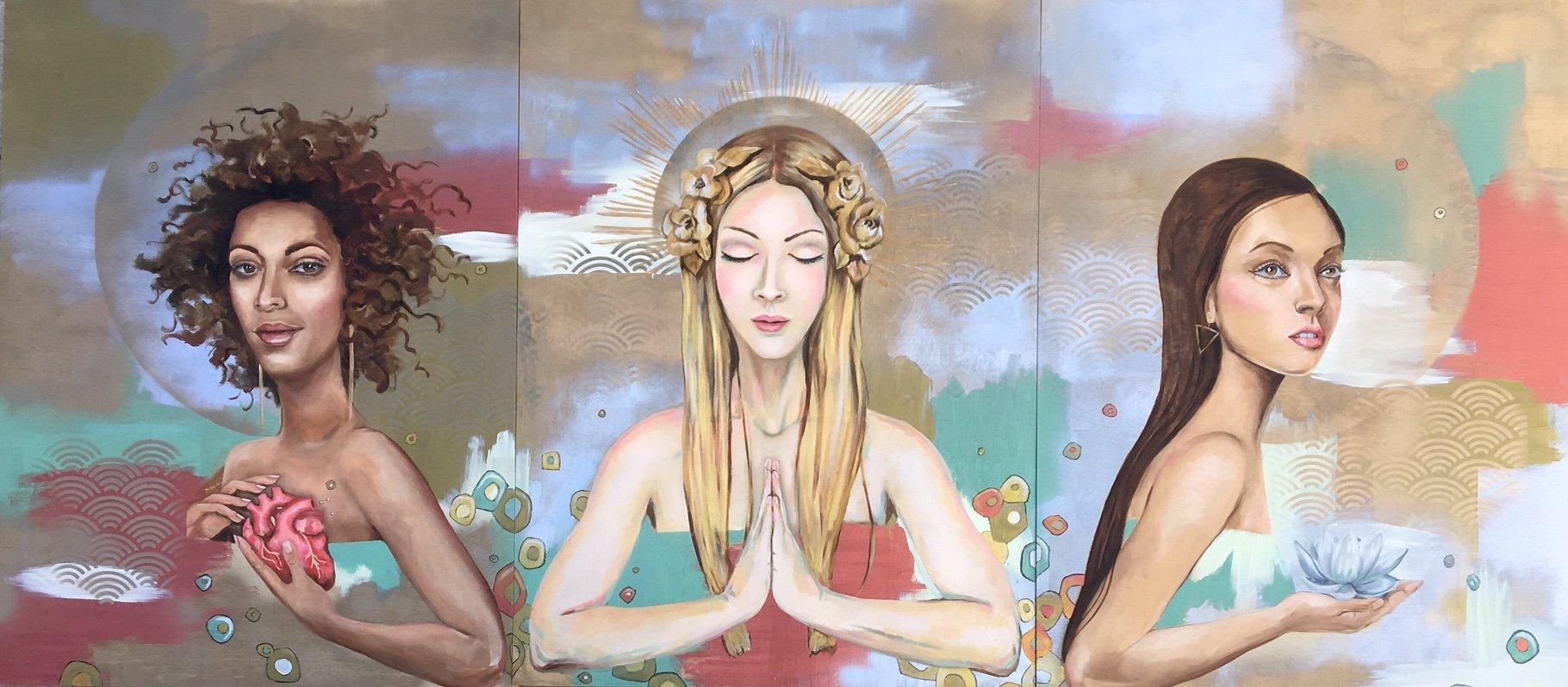 women painting, Goddess, spiritual, women, divine feminine, portrait painting